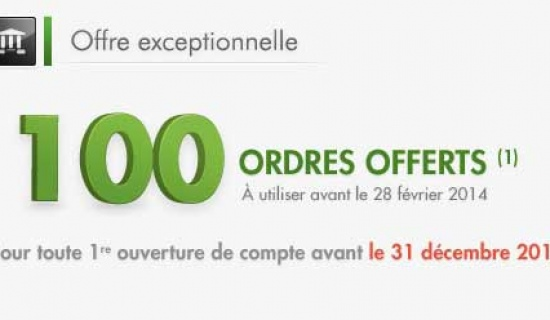Offre Bourse: 100 ordres offerts avec Fortuneo
